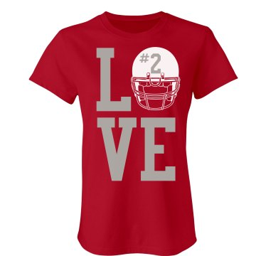 Love Football w/ Helmet Junior Fit Bella Sheer Longer Length Rib Tee