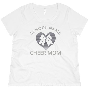 Davidson High Cheer Mom Junior Fit Bella 1x1 Rib Ringer Tee