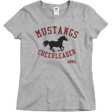 Mustangs Cheerleader Misses Relaxed Fit Basic Gildan Ultra Cotton Tee