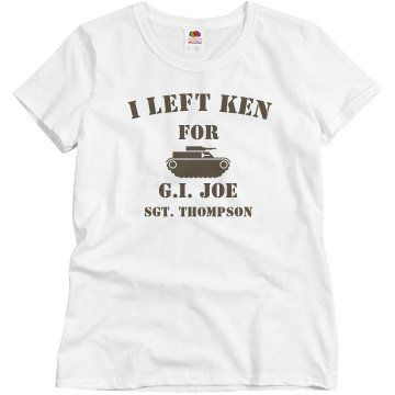 I Left Ken Military Misses Relaxed Fit Basic Gildan Ultra Cotton Tee
