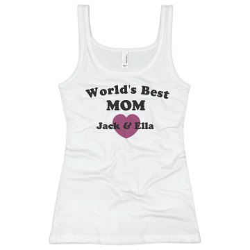 World's Best Mom Junior Fit Basic Bella 2x1 Rib Tank Top