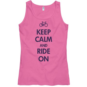 Keep Calm & Ride On Junior Fit Bella Sheer Longer Length Rib Tank Top