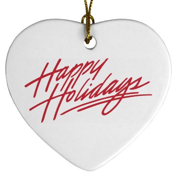 Happy Holidays Porcelain Heart Ornament