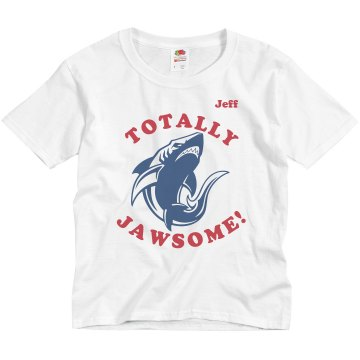 Totally JAWsome Shark Youth Basic Gildan Ultra Cotton Crew Neck Tee