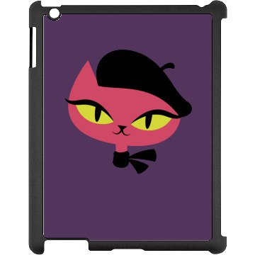 Cute Cat iPad Case Black iPad Snap-on Case