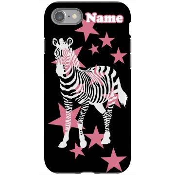 Add Your Name Pop Zebra Rubber iPhone 4 & 4S Case Black