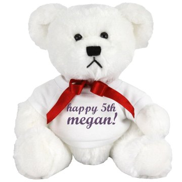 Happy 5th Megan Bear Medium Plush Teddy Bear