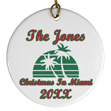 Christmas In Miami Plastic Ball Ornament