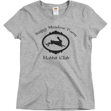 Sunny Meadow Rabbit Club Misses Relaxed Fit Basic Gildan Ultra Cotton Tee