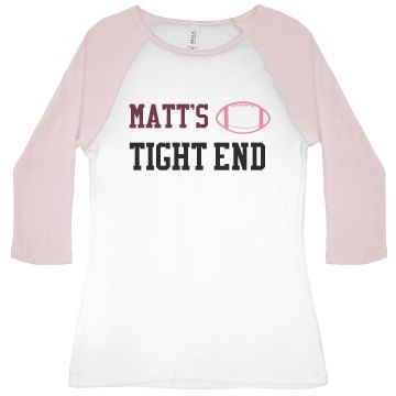 Matt's Tight End Junior Fit Bella 1x1 Rib 3/4 Sleeve Raglan Tee