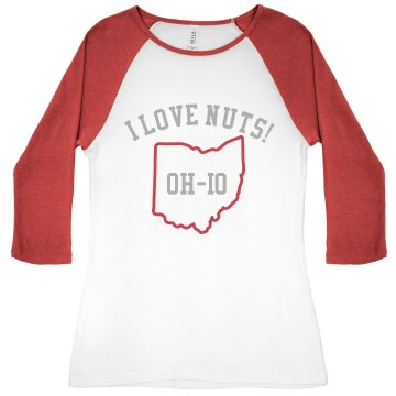 I Love Nuts Junior Fit Bella 1x1 Rib 3/4 Sleeve Raglan Tee