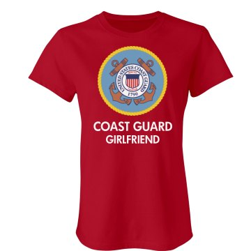 Coast Guard Girlfriend  Junior Fit Bella Crewneck Jersey Tee