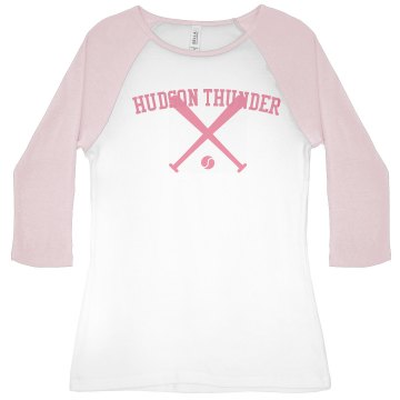 Softball Mom Tee Junior Fit Bella 1x1 Rib 3/4 Sleeve Raglan Tee