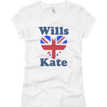 Wills and Kate Love Junior Fit Basic Bella Favorite Tee