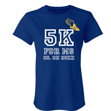 5K For MS Junior Fit Bella Crewneck Jersey Tee