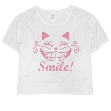 Cheshire Cat Big Smile Misses Bella Flowy Boxy Lightweight Crop Tee