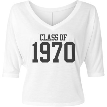 Class of 1970 Misses Bella Flowy V-Neck Half-Sleeve Tee