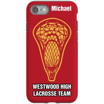 Lacrosse Player iPhone Rubber iPhone 4 & 4S Case Black