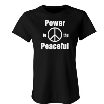 Power to the Peaceful Junior Fit Bella Crewneck Jersey Tee