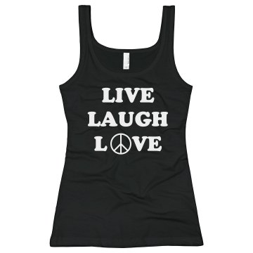 Live Laugh Love Junior Fit Bella Sheer Longer Length Rib Tank Top