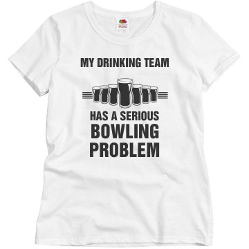 Drinking Bowling Team Junior Fit Bella Crewneck Jersey Tee