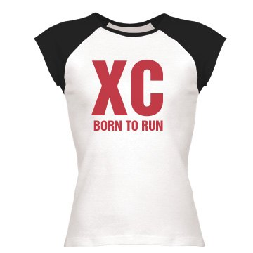 Cross Country Born To Run Junior Fit Bella 1x1 Rib Ringer Tee