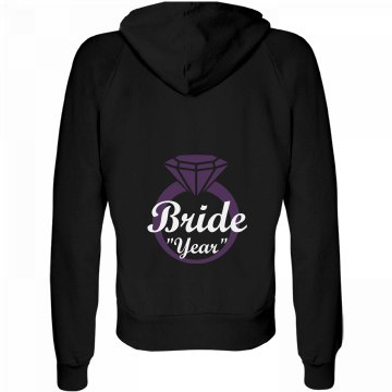 Bride With Your Year Junior Fit Bella Fleece Raglan Zip Hoodie