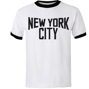 Lennon Loves New York Ms. Junior Fit Bella 1x1 Rib Ringer Tee