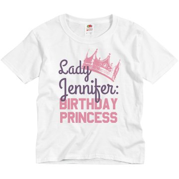 The Birthday Princess Youth Basic Gildan Ultra Cotton Crew Neck Tee