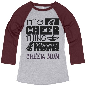 Its A Cheer Thing Mom Junior Fit Bella 1x1 Rib Ringer Tee