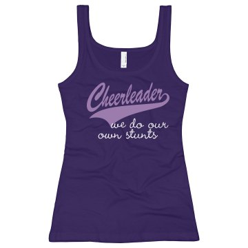 We Do Our Own Stunts Junior Fit Bella Longer Length 1x1 Rib Tank Top