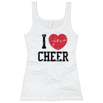 I Love Cheer Junior Fit Bella Sheer Longer Length Rib Tank Top
