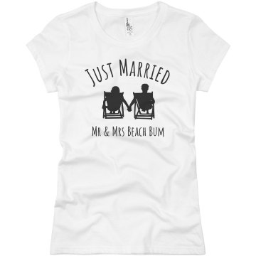 Mr &amp; Mrs Beach Bum Junior Fit Basic Bella Favorite Tee