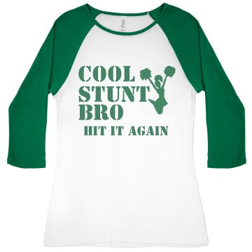 Cool Stunt 3/4 Sleeve Junior Fit Bella 1x1 Rib 3/4 Sleeve Raglan Tee
