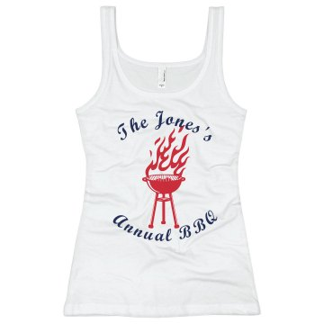 Jones Family BBQ Junior Fit Bella Sheer Longer Length Rib Tank Top