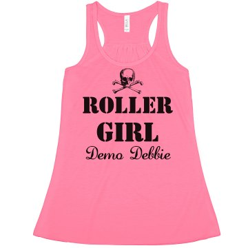 Roller Derby Girl Debbie Misses American Apparel Neon Oversized Crop Tank