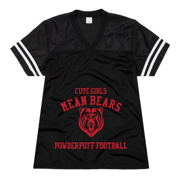 Cute Girls Mean Bears Junior Fit Soffe Mesh Football Jersey