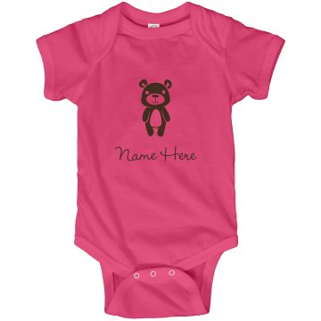 Custom Bear One Piece Infant Rabbit Skins Lap Shoulder Creeper
