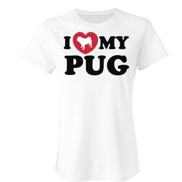 I Love My Pug Junior Fit Bella Sheer Longer Length Rib Tee