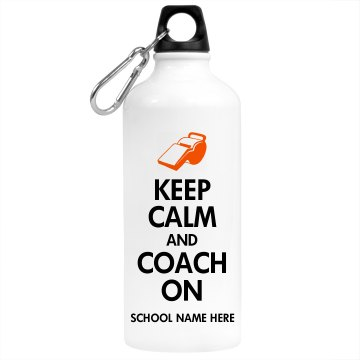 Keep Calm Coach On Aluminum Water Bottle