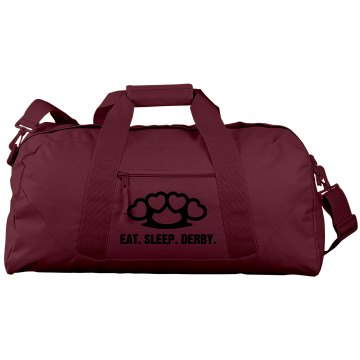 Eat. Sleep. Derby. Port & Company Large Square Duffel Bag