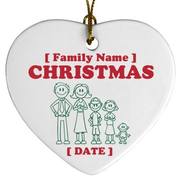 Family Christmas Ornament Porcelain Heart Ornament