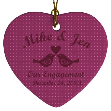 Engagement Ornament Porcelain Heart Ornament