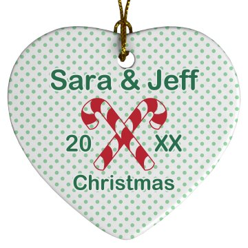 Couples Candy Cane Porcelain Heart Ornament