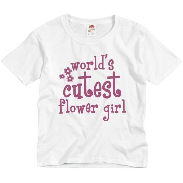 Worlds Cutest Flower Girl Youth Basic Gildan Ultra Cotton Crew Neck Tee
