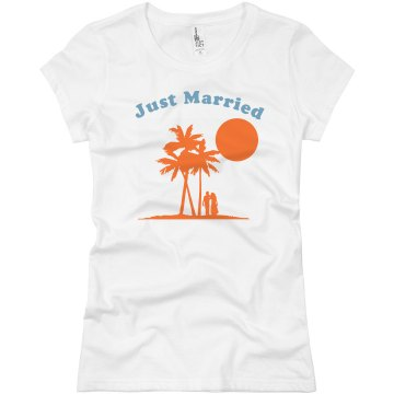 Just Married Honeymoon Junior Fit Basic Bella Favorite Tee
