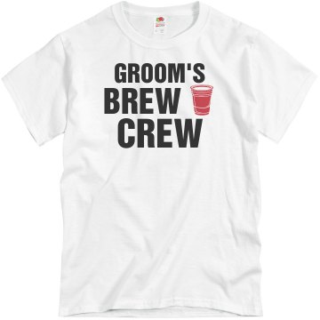 Groom's Brew Crew Unisex Basic Gildan Heavy Cotton Crew Neck Tee