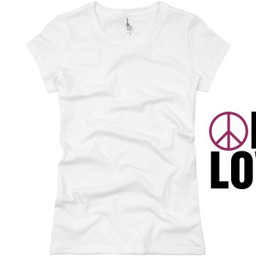 One Love Peace Sign Junior Fit Basic Bella Favorite Tee
