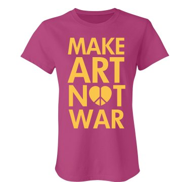 Make Art Not War Junior Fit Bella Sheer Longer Length Rib Tee