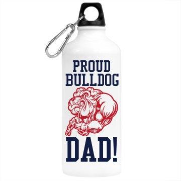 Proud Bulldog Dad Aluminum Water Bottle
